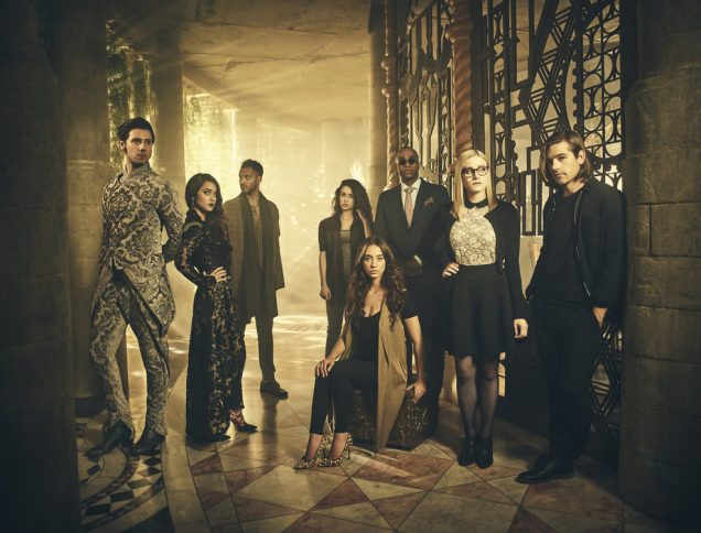 3 Books to Read if You Love The Magicians | THE MAGICIANS -- Season:2 -- Pictured: (l-r) Hale Appleman as Eliot, Summer Bishil as Margo, Arjun Gupta as Penny, Jade Tailor as Kady, Stella Maeve as Julia, Rick Worthy as Dean Fogg, Olivia Taylor Dudley as Alice, Jason Ralph as Quentin -- (Photo by: Jason Bell/Syfy)