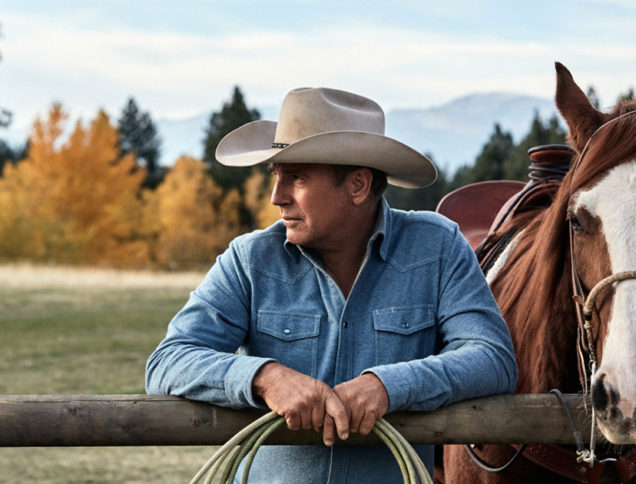 Kevin Costner on set of Yellowstone