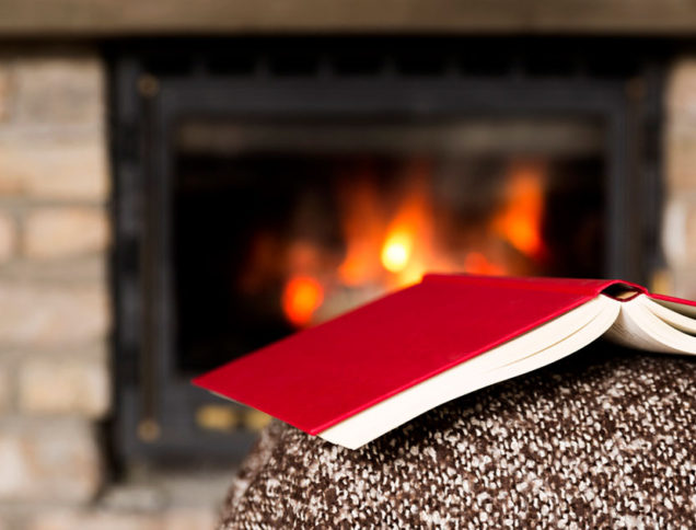 Books resting on couch by the fire