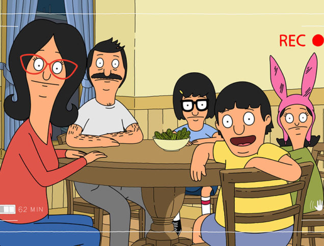 Belchers at the table in Bob's Burgers