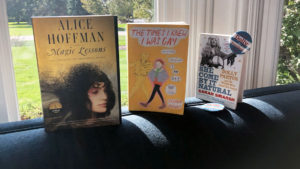 October books on a couch