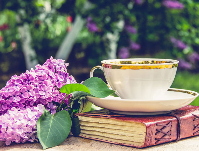 Tea cup and book in a garden