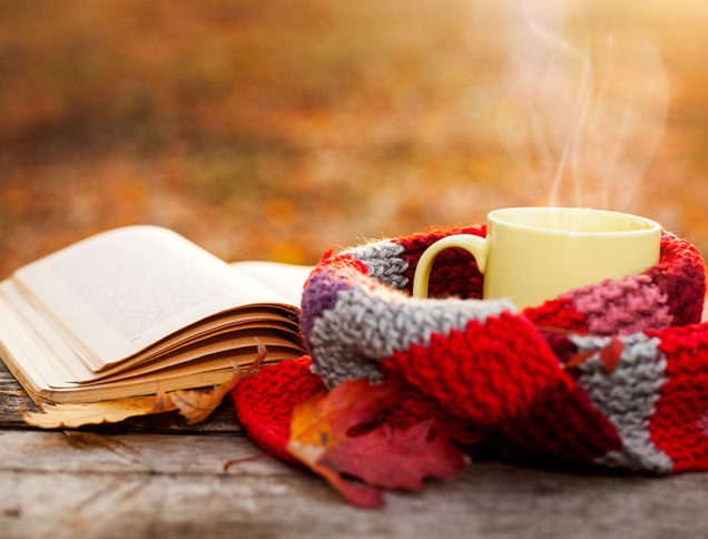 Books and coffee on a fall day